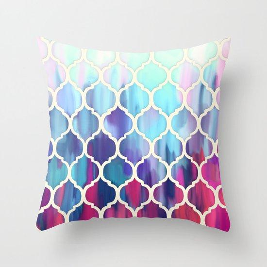 Moroccan Meltdown - pink, purple & aqua painted tiles Throw Pillow