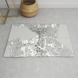 Seattle, Washington City Map, Black/White Rug