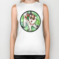 okami Biker Tanks featuring Amaterasu from Okami 01 by Jazmine Phillips