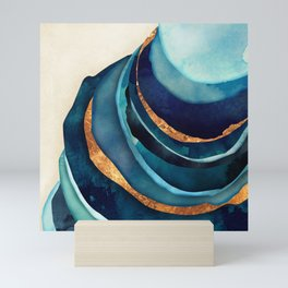 Abstract Blue with Gold Mini Art Print