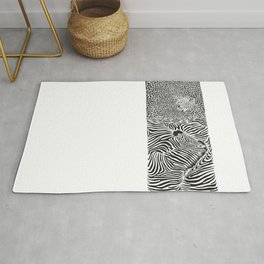 Zebra and leopard skin pattern with heads Rug