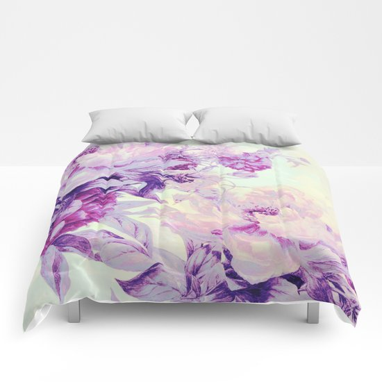 pastel bouquet Comforters