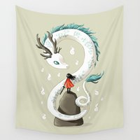 dragon ball z Wall Tapestries featuring Dragon Spirit by Freeminds