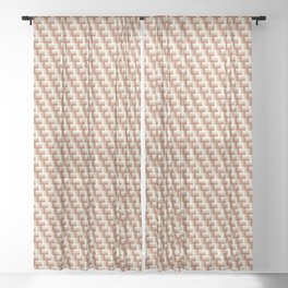 Cavern Clay SW 7701 Ligonier Tan SW 7717 and Creamy Off White SW7012 Zigzag Angled Stripe Pattern 2 Sheer Curtain