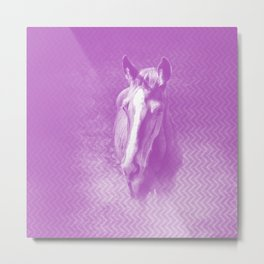 Horse emerging from the purple mist Metal Print