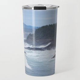 Crashing Waves In Blue Travel Mug