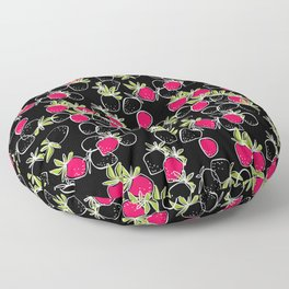 Abstract strawberry red berry modern pattern black hand drawn Floor Pillow