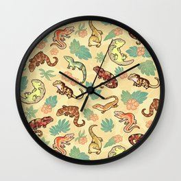 Gecko family in yellow Wall Clock