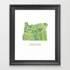Oregon Counties watercolor map Framed Art Print