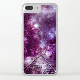 Dream Train Tracks : Next Stop Anywhere purple pink Clear iPhone Case