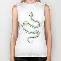 emerald Biker Tanks featuring Snake Skeleton – Emerald & Gold by Cat Coquillette