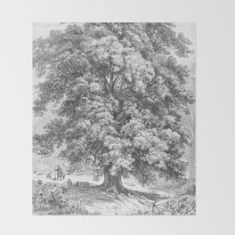Linden Tree Print from 1800's Encyclopedia Throw Blanket