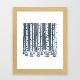 Fox in the woods Framed Art Print