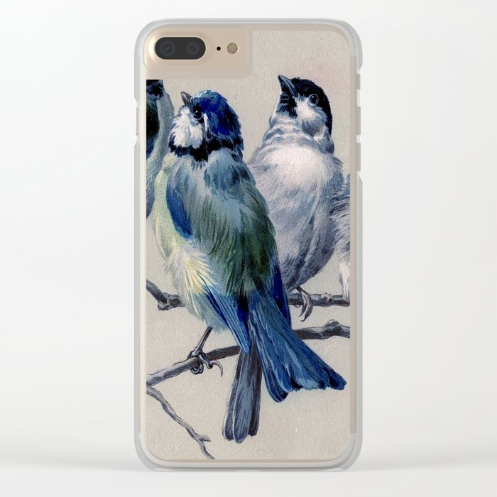 Vintage Cute Blue Birds on Branch Clear iPhone Case