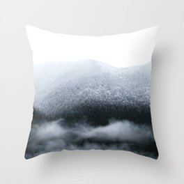 Low Hanging Fog in the Canadian Rockies Throw Pillow