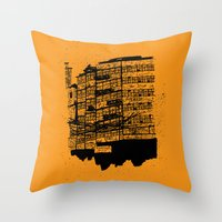 hong kong Throw Pillows featuring Hong Kong Flats by Miguel Villasanta