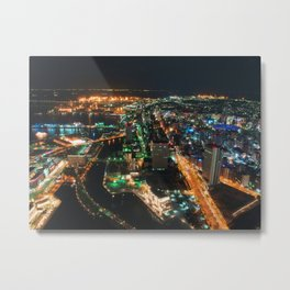 aerial photography of city buildings at night time Metal Print