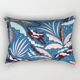 Exotic Wilderness on Blue / Panthers and Plants Rectangular Pillow