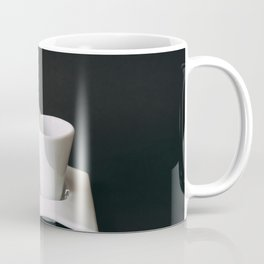 Set of cup of coffee and macaroons against black background Coffee Mug