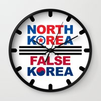 korea Wall Clocks featuring North Korea by pollylitical