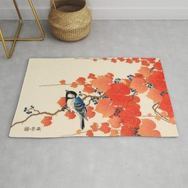 Vintage Japanese Bird and Autumn Grapevine Rug