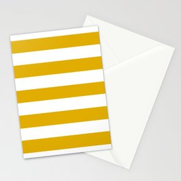 Mustard yellow - solid color - white stripes pattern Stationery Cards