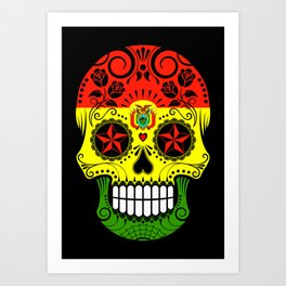 Sugar Skull with Roses and Flag of Bolivia Art Print