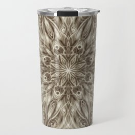 off white sepia swirl mandala Travel Mug