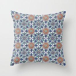 Iznik Tile Pattern Red Blue White Throw Pillow