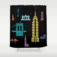 new york skyline Shower Curtains featuring New York Skyline Black by Christopher Dina