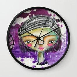 Girl in Purple Wall Clock