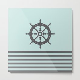 AFE Pale Turquoise and Brown Helm Wheel Metal Print