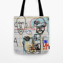 VARIATION: SKULLS, FACES, WORDS, LETTERS, A HELMET, A HOOD, & A MASK Tote Bag