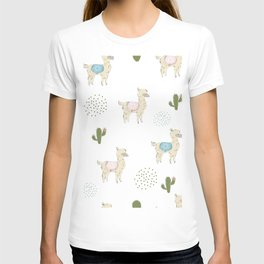Seamless alpaca pattern, hand drawn Scandinavian cute design. T-shirt