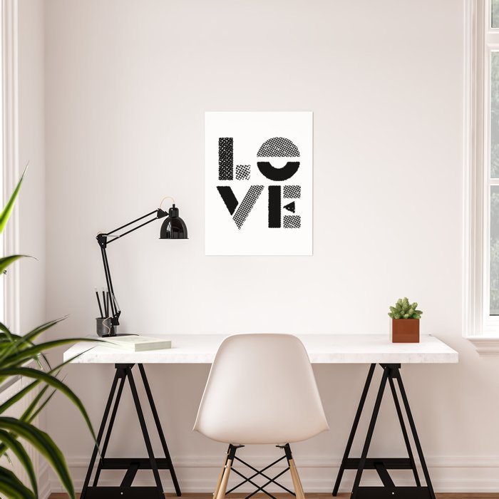 LOVE black-white contemporary minimalist vintage typography poster design  home wall decor bedroom Poster by themotivatedtype