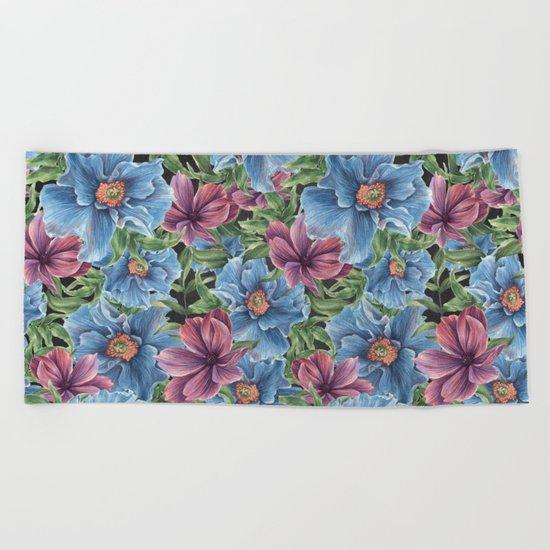 Hibiscus Flowers on Chalkboard Beach Towel