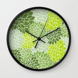 Dahlia Flowers, Petals, Blossoms - Green White Wall Clock