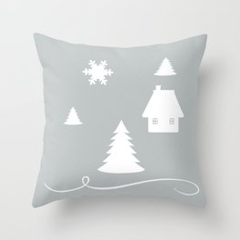 Winter Blues Collage Throw Pillow