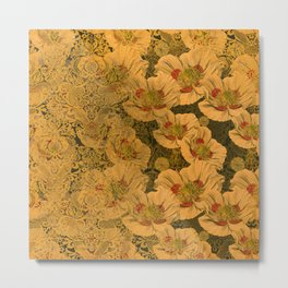 Poppies Deluxe:  Art Nouveau poppy print - cream, red, green, jade, peach, gold damask - ornate Metal Print