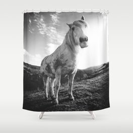 Horse (Black and White) Shower Curtain