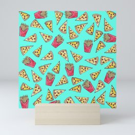 Pepperoni Pizza French Fries Foodie Watercolor Pattern Mini Art Print