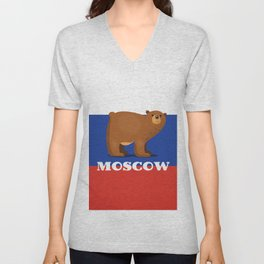 Moscow Bear and flag travel poster. Unisex V-Neck