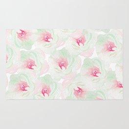 Hand painted pink teal watercolor modern floral Rug