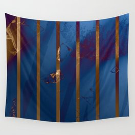 Electric Blue Abstract with Gold Stripes Wall Tapestry