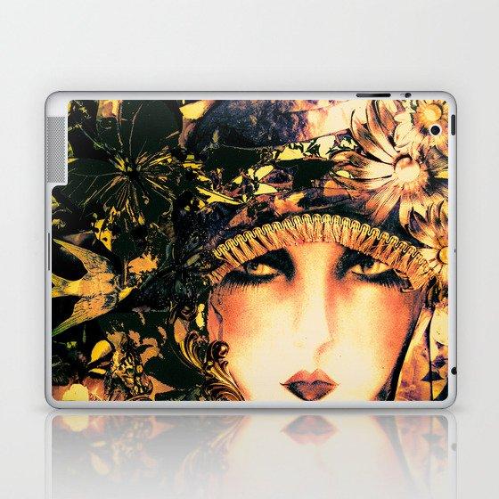 ART DECO FLAPPER COLLAGE POSTER PRINT, ROSES, BIRDS BUTTERFLIES ,LADY Laptop & iPad Skin