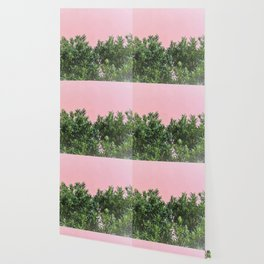 Minimal Nature Green Botanical Plants with Light Pink Background Wallpaper