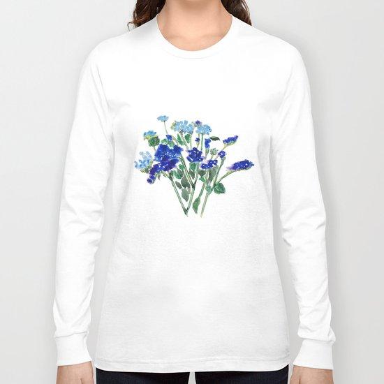 blue flower Long Sleeve T-shirt