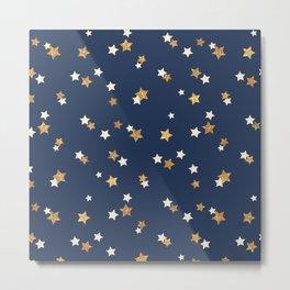 Navy blue faux gold glitter elegant starry pattern Metal Print
