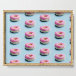 Pink donut pattern on blue background. Trendy colors and food Serving Tray