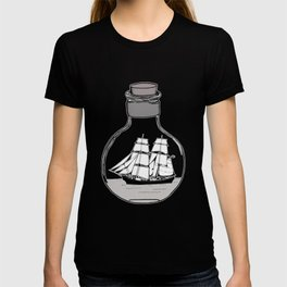 Ship in the Glass Bulb for Home Decor and Apparel T-shirt